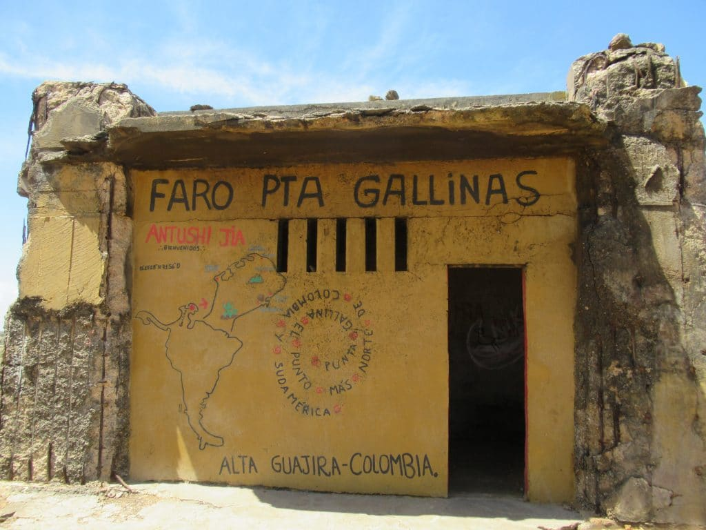 A structure marking the northernmost point of South America, one of the main things to see in Punta Gallinas.