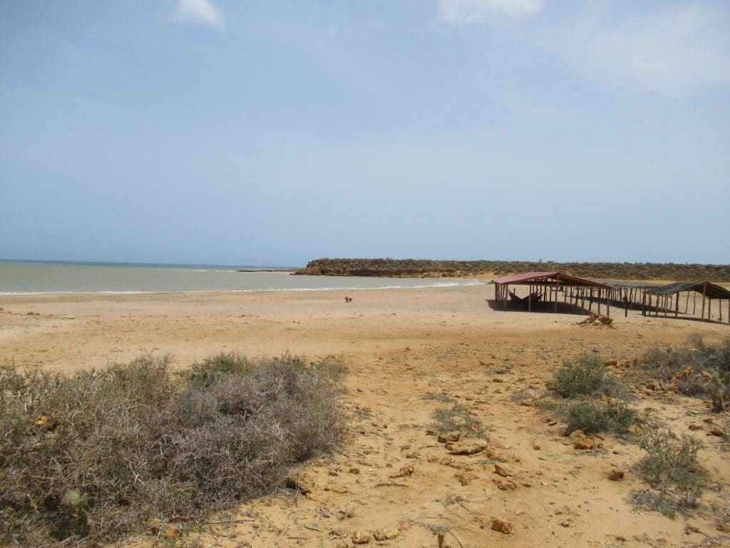 Playa Aguja with the shade shelter to the right and beach to the left, one of the most beautiful beaches near Punta Gallinas.