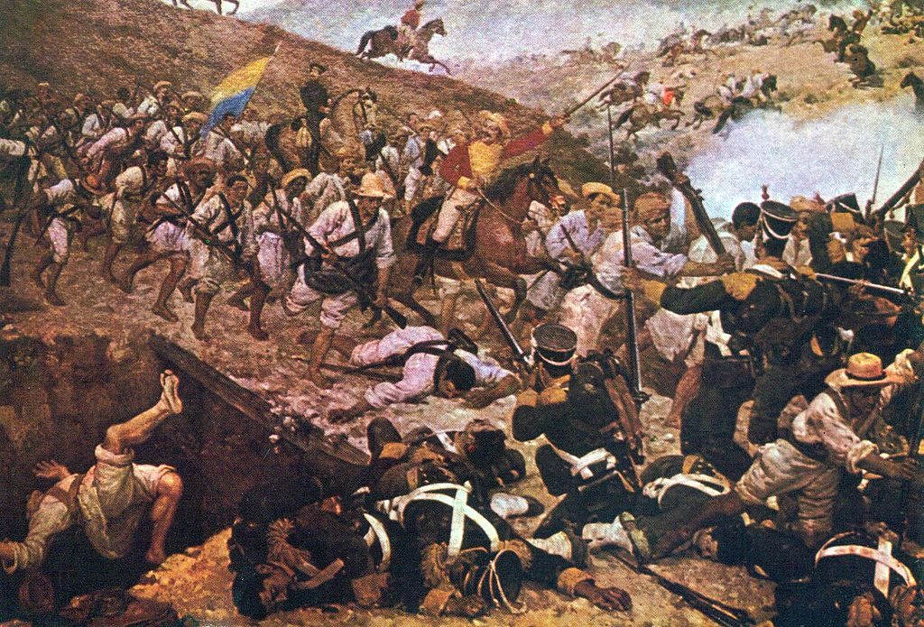A painting depicting the battle with men fighting on the bridge at the Battle of Boyacá.