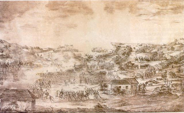 A rendering of the Battle of Boyacá, showing the forces fighting from a distance.