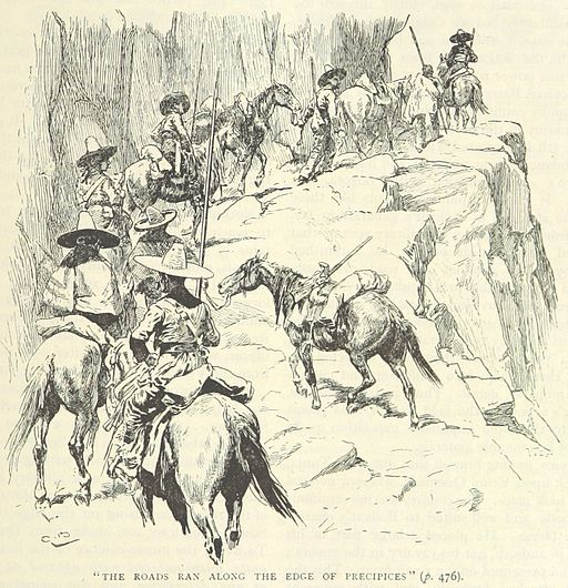 A sketch of men on horse back heading up a narrow mountain pass.