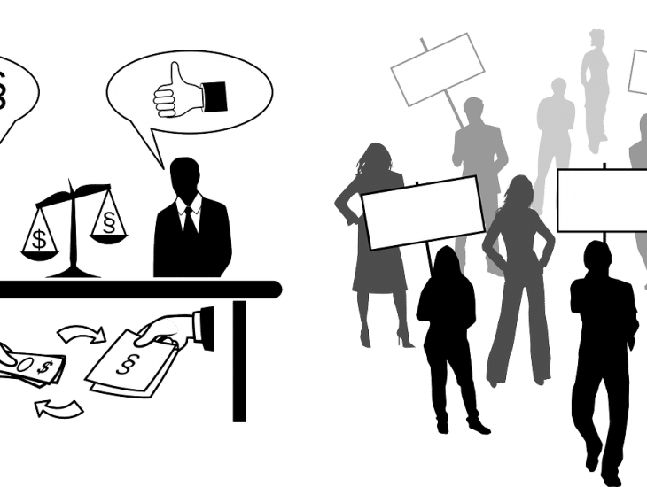 Clip art of people protesting politicians accepting under the table payments.