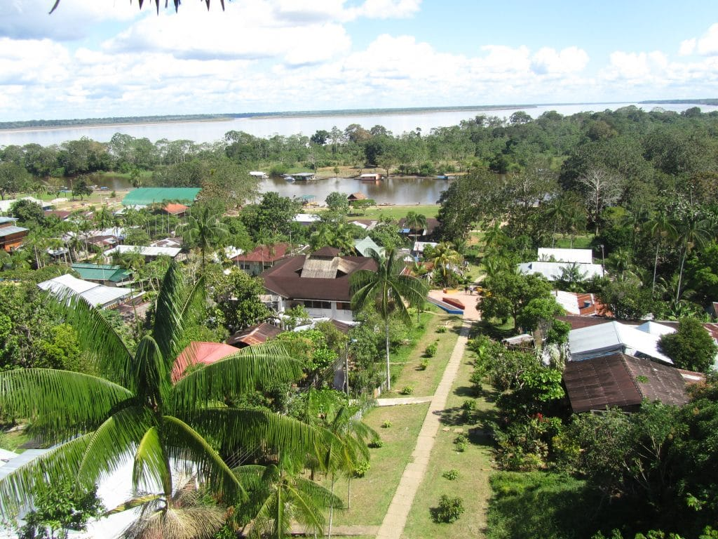 View of the town of Puerto Nariño with the Amazon River beyond from atop the observation tower.