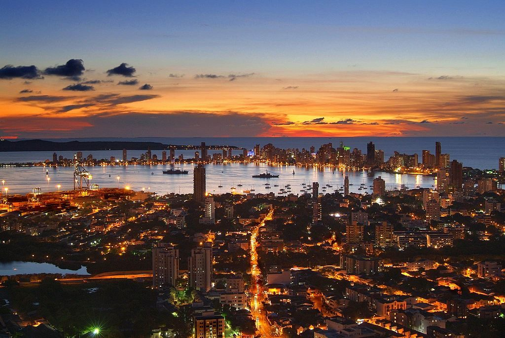 A view of the sunset over Cartagena.