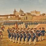 Painting of Spanish troops in blue uniforms assembled in formation in front of the city walls after the siege of Cartagena.