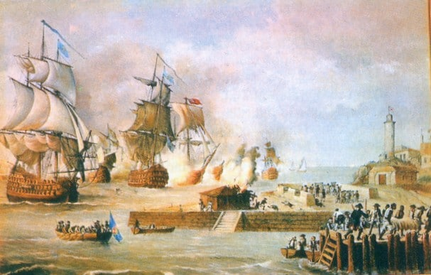 A historic painting of the Battle of Cartagena de Indias depicts British ships firing on the Spanish defenders of the city.