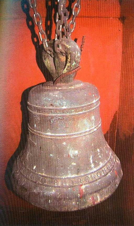 Photo of a bell forged by Pedro Romero. Today it is rusted. Learn more by continuing to read the biography of Pedro Romero.