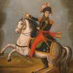 Portrait of Simón Bolívar, the author of the Cartagena Manifesto, on horseback with his sword drawn as if to lead a charge.