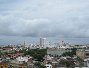 A picture of Cartagena showing the buildings of the Centro in the distance.