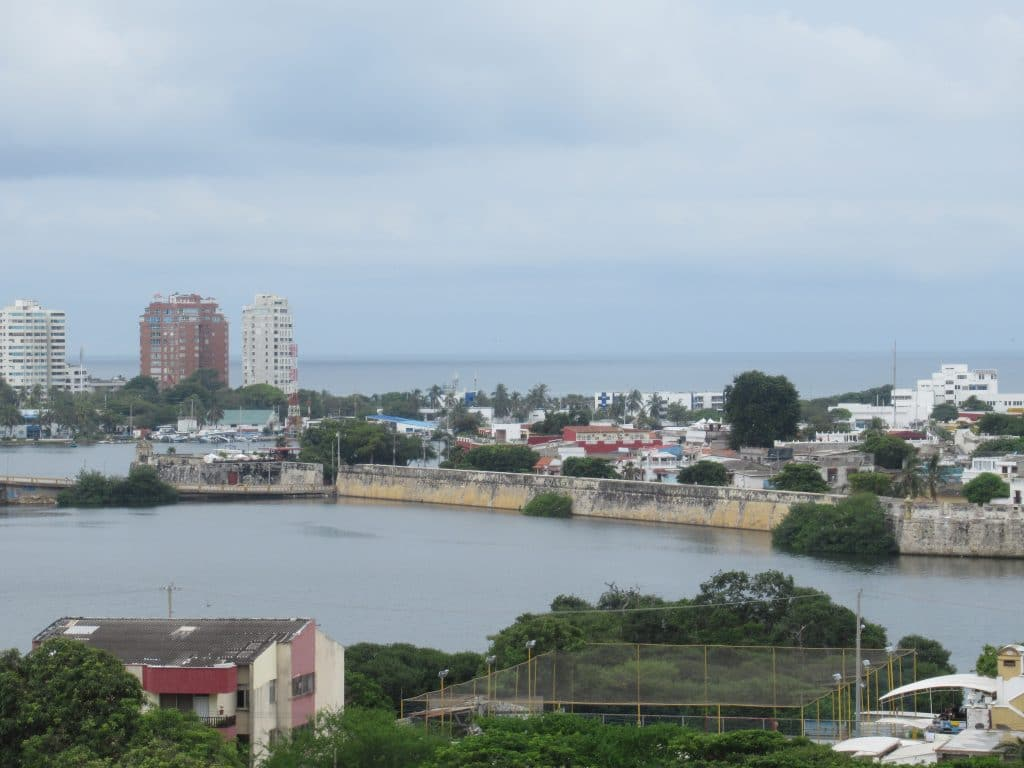 A view of Cartagena's bay with a section of the wall running along the water taken from atop the walls of Castillo San Felipe Fortress.