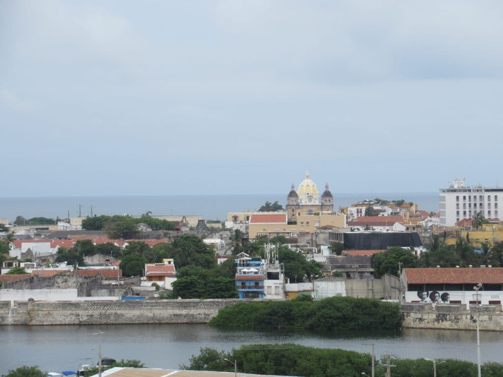 View of the walled city of Cartagena from atop the Castillo San Felipe Fortress.