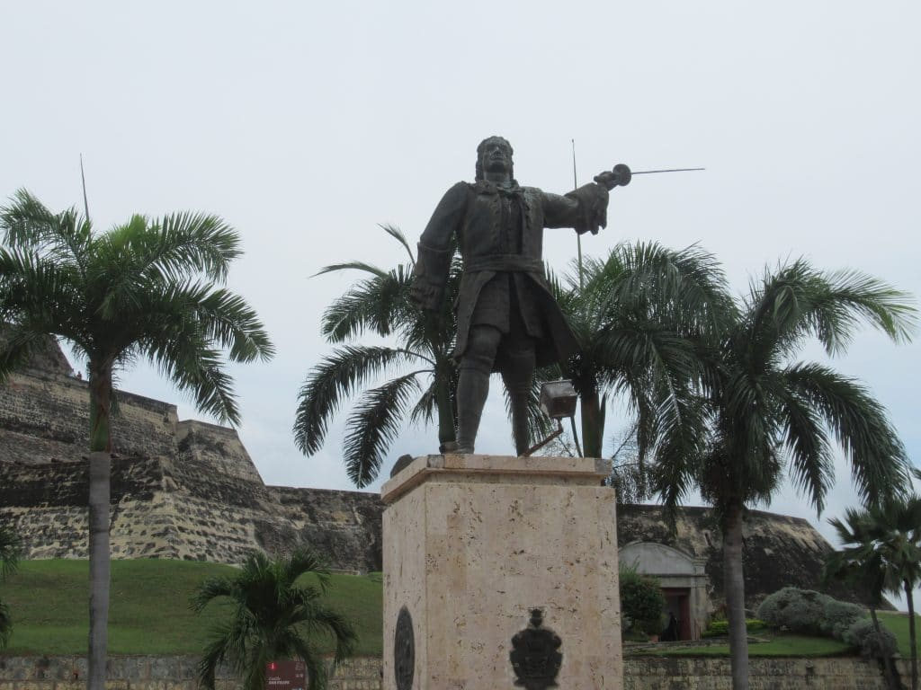 A statue of Blas de Lezo outside the Castillo San Felipe Fortress.