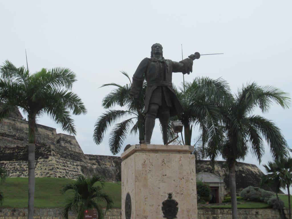 A statue of Blas de Lezo outside the Castillo San Felipe Fortress.