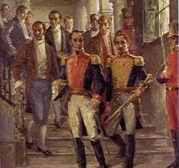 A painting of Bolívar surrounded by several other mean in a congress meeting, probably debating the issues he raised in the Cartagena Manifesto.
