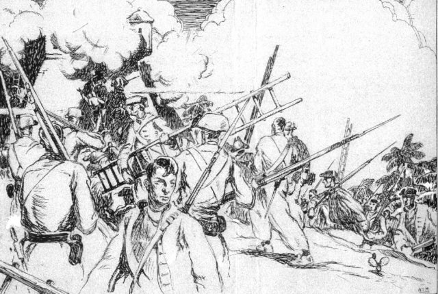 A black and write sketch of soldiers, some carrying ladders, with smoke in the background during the Battle of Cartagena de Indias.