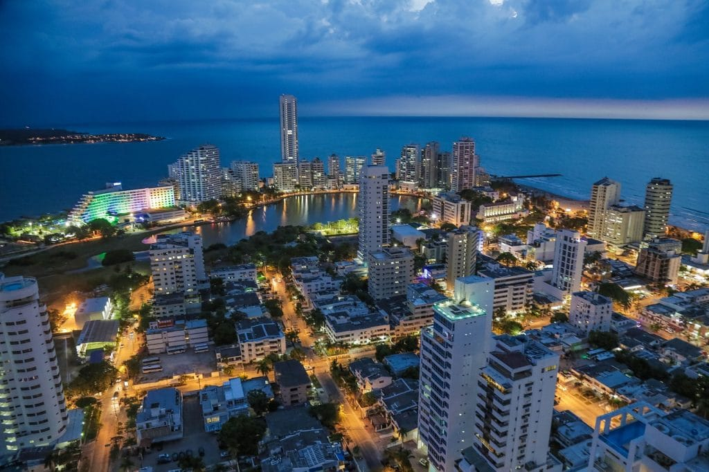 The taller buildings of Bocagrande at night time, one of the best areas to stay in Cartagena.
