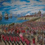 A painting showing Spanish troops in formation outside of Cartagena's walls, a firing squad executing the 9 martyrs of Cartagena while Spanish ships float in the bay in the background.