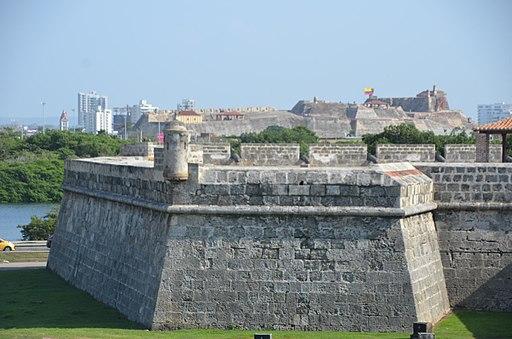 Photo of a corner of Cartagena's walls.