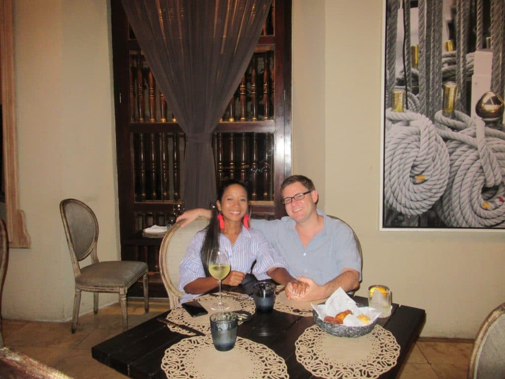 A couple at a table at El Gobernador, the next place on our list of where to have a romantic dinner in Cartagena.