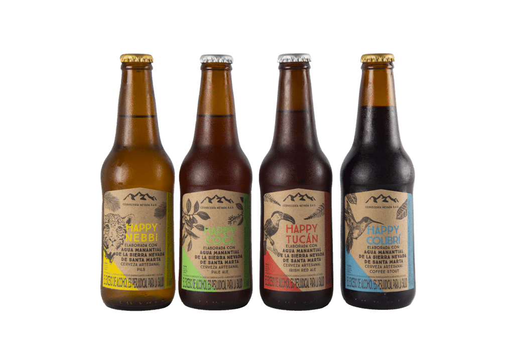 Photo of the 4 bottles of Nevada's styles, showing the labels of their unique Colombian craft beer.