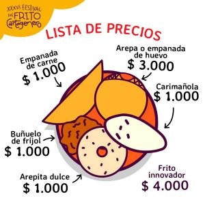 Graphic showing the prices at the Festival del Frito Cartagena 2020