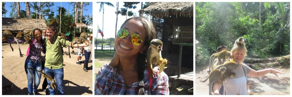 Collage of photos showing people with monkeys climbing on them at Isla de los Micos, one of the best things to do in Leticia.