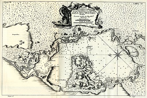 1735 map showing the bay of Cartagena.