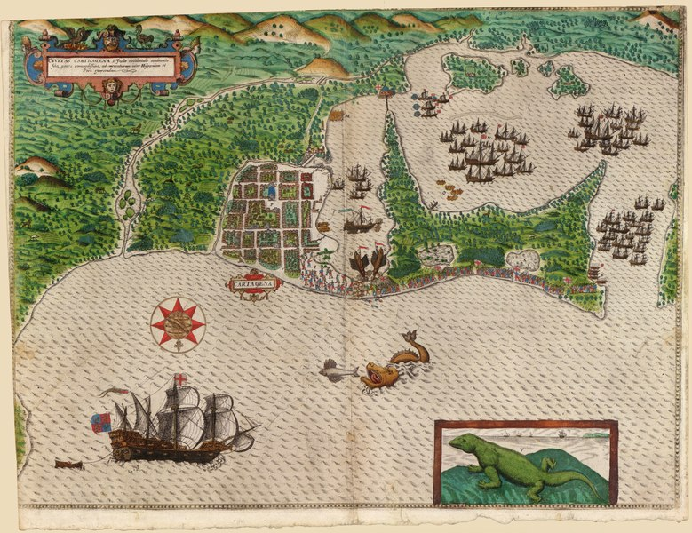 Historical engraving of a map showing Sir Francis Drake's raid on Cartagena in 1586. Shows the city and Drake's ships entering the bay to the east.