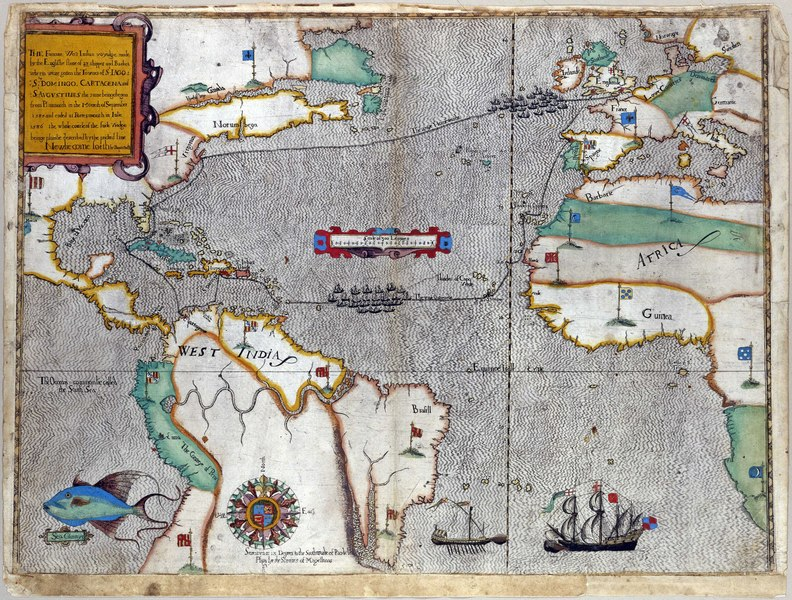 Historical map showing Drake's route across the Atlantic and back.