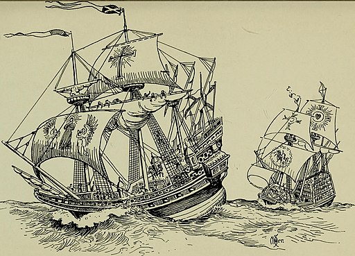 Engraving of two ships at sea.