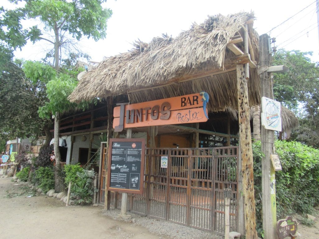 Photo of the front of JUntos Bar and Restaurant, another one of the best places to eat in Palomino, Colombia.