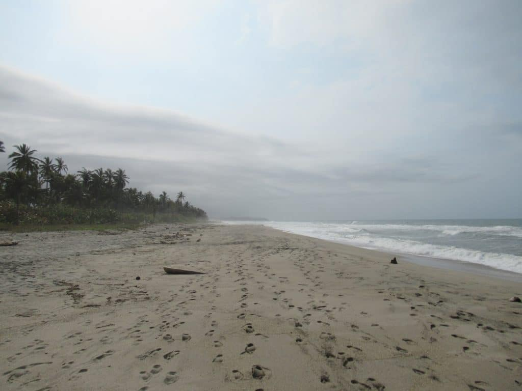 Photo of a beach with some footprints and the water and trees in the background at Playa Costeño, Colombia.