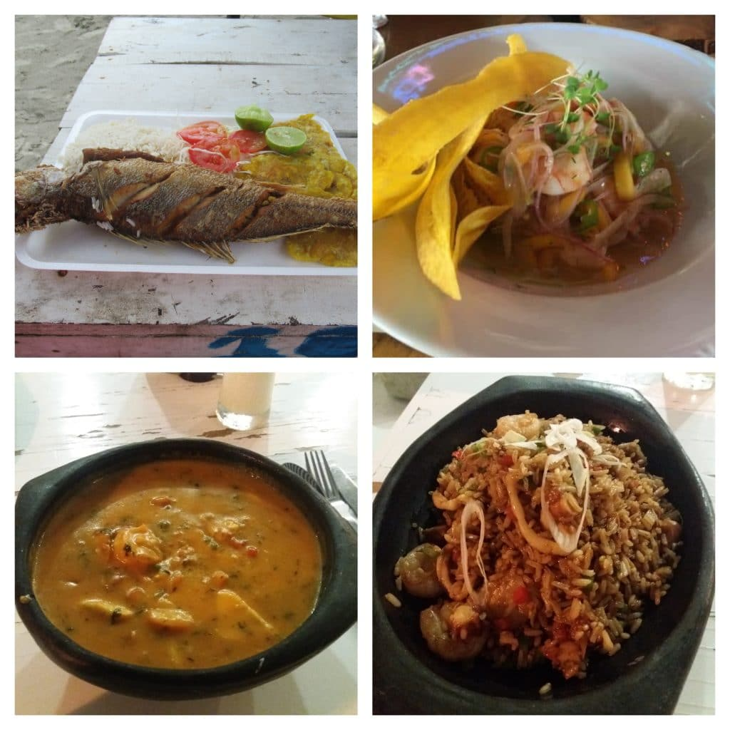 Collage of 4 photos of different seafood dishes, another what to do in Cartagena.