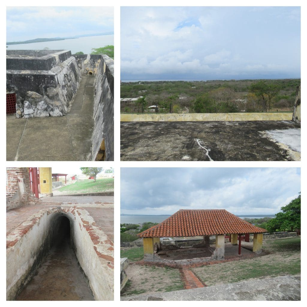 Collage of 4 photos from the San Rafaael Fort in Bocachica