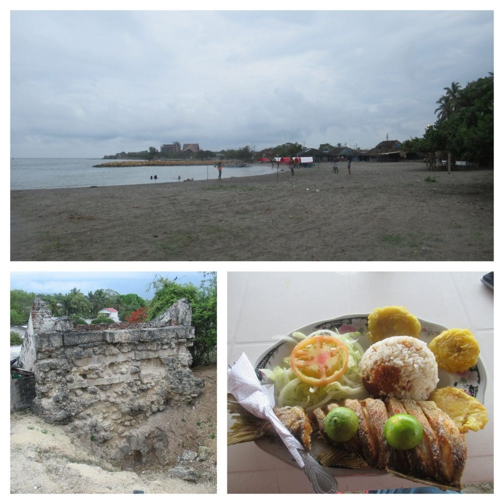 Photo collage of the beach, el horno, and a fish plate