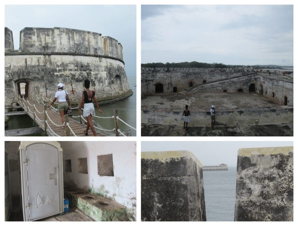 Collage of 4 photos from the inside of Castillo San Fernando Fort in Bocachica.