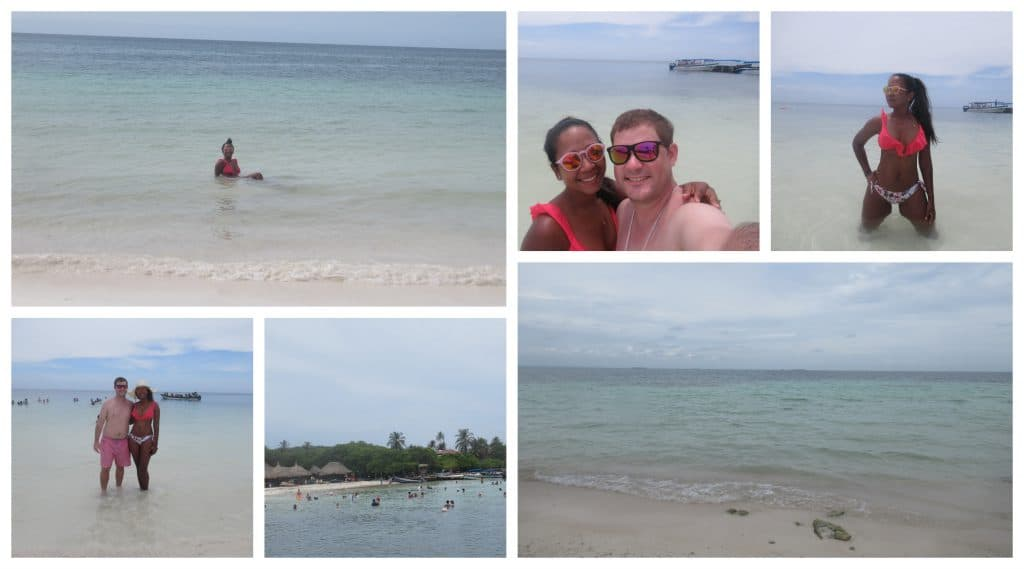 Collage of photos at the beaches near Isla Roots.