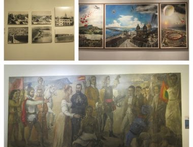 Collage of some photos from some of the works in the museum of modern art in Cartagena.