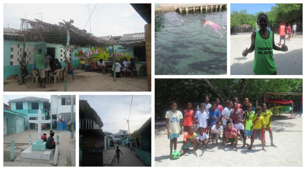 Collage of photos showing images of our visit to Islote and the soccer team playing at Isla Roots Hostel.