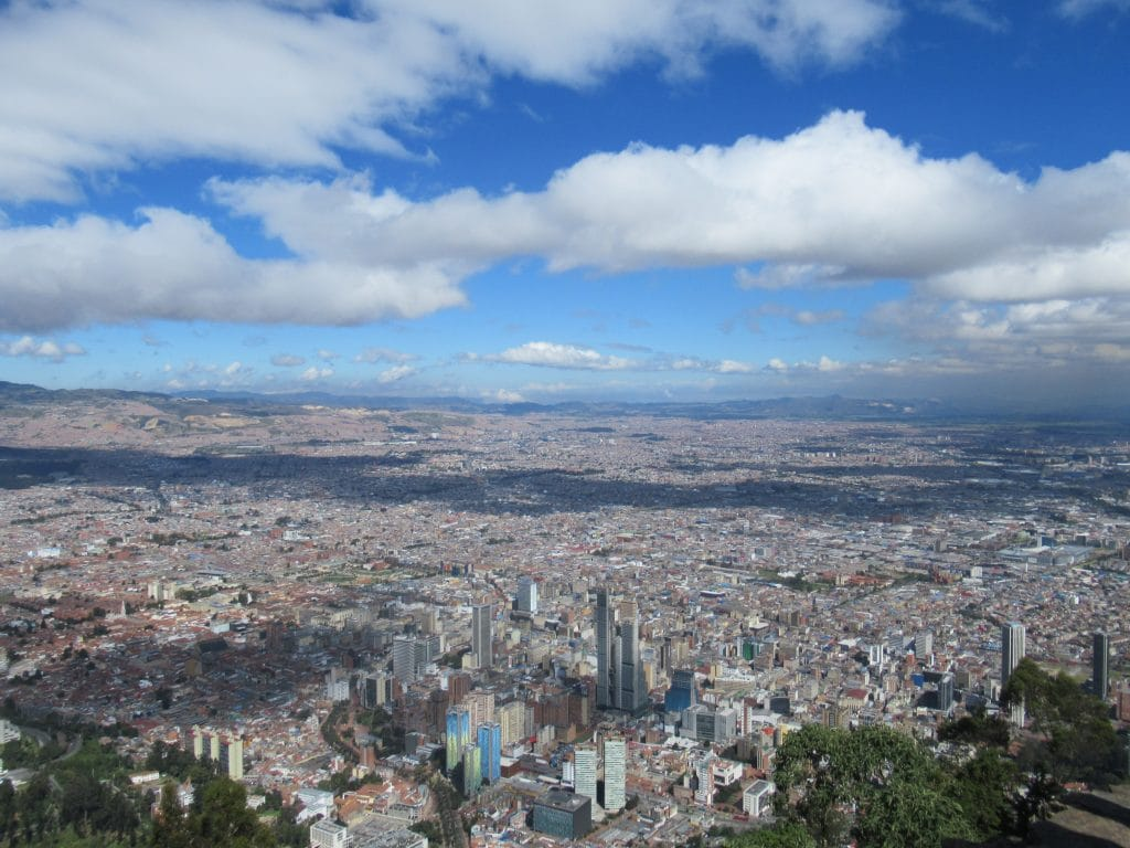 Photo of the city of Bogotá taken from the top of Cerro Monserrate