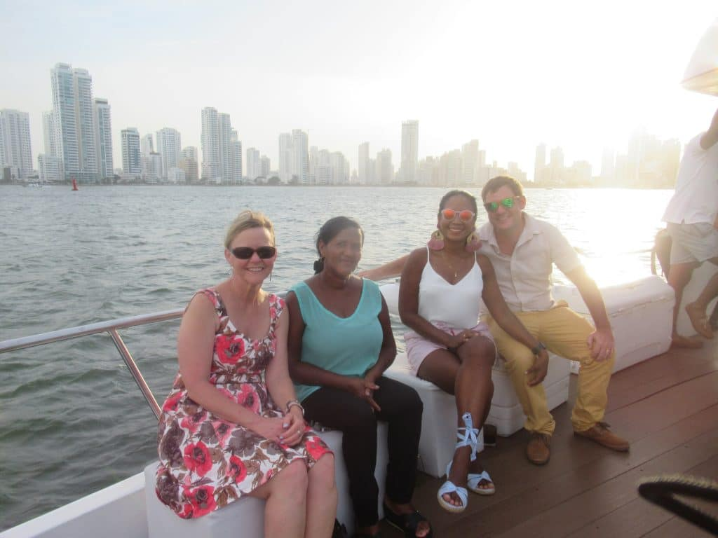 Photo of a group of people enjoying this Cartagena sunset harbor tour.