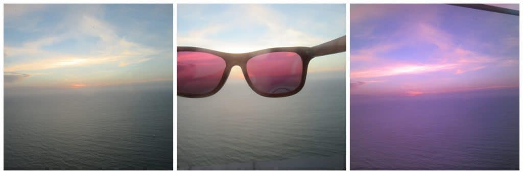 Collage showing the sunset with the RAWWOOD Bamboo Sunglasses.