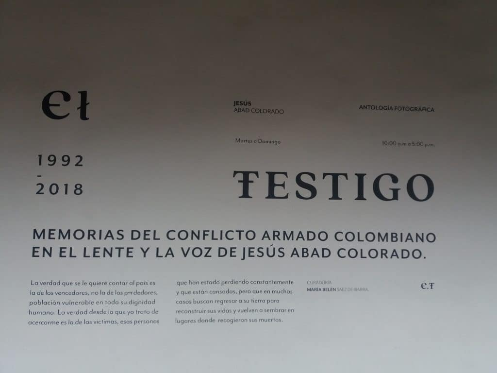 Photo of the introductory text of the El Testigo Photography Exhibit