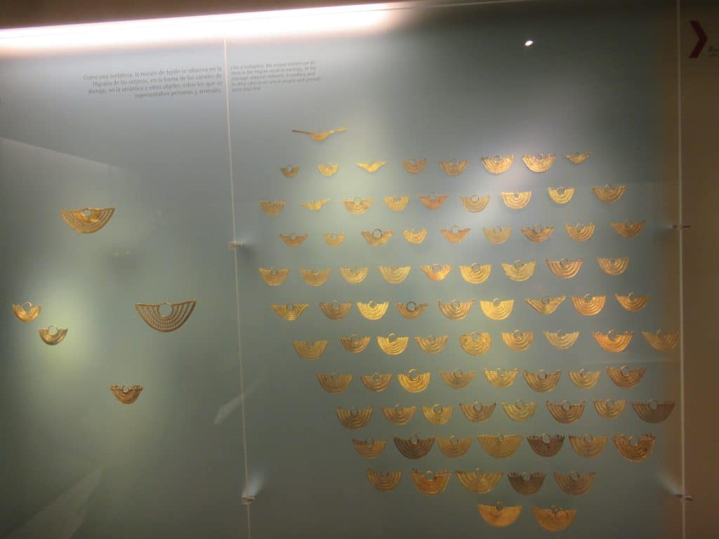 Photo of some gold designs at the Gold Museum in Bogotá