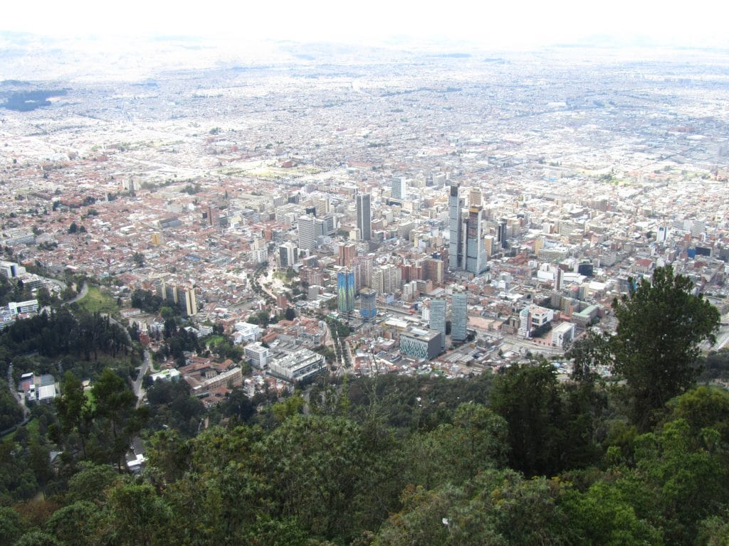 Photo of Bogotá from a distance.