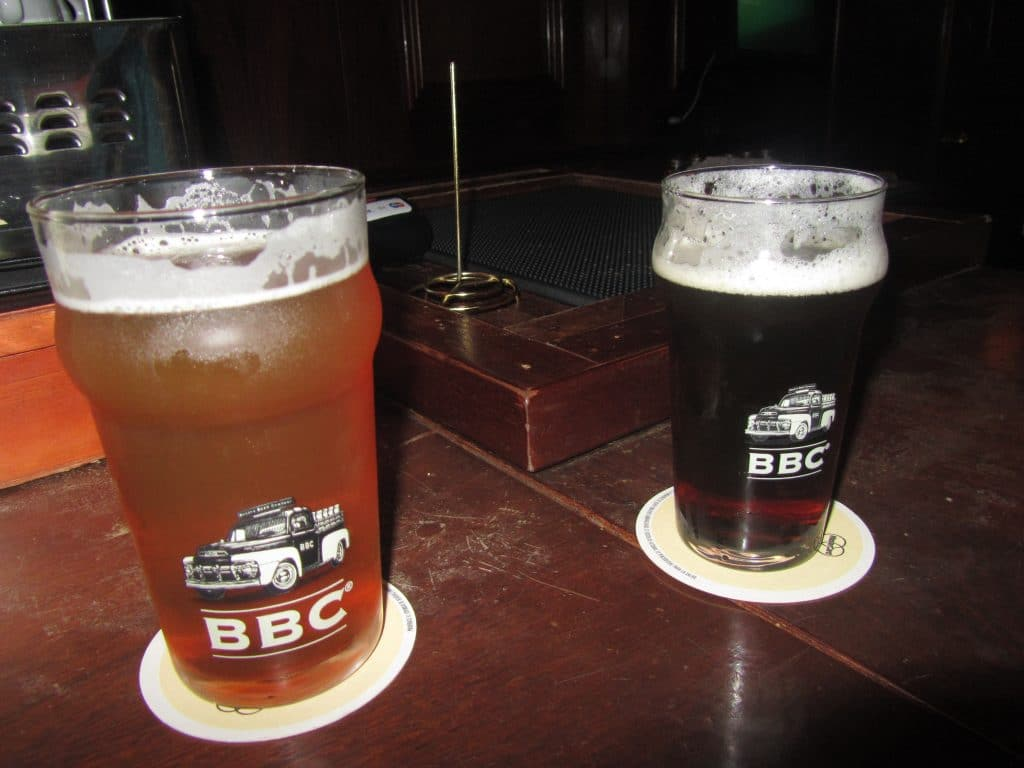 Photo of two beer glasses.
