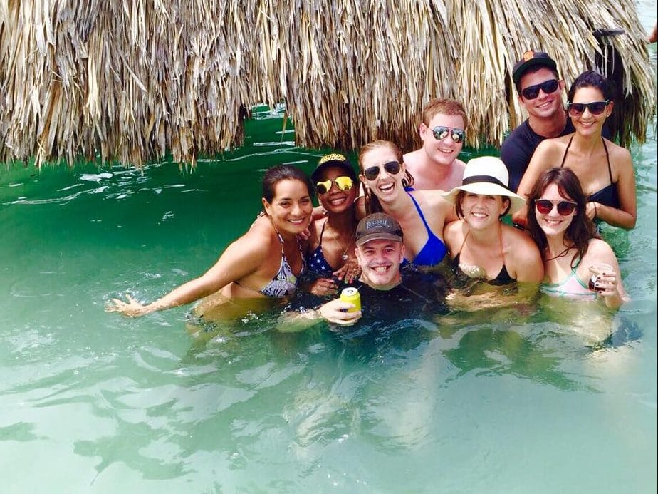 Photo of a group of people in the water in the Rosario Islands.
