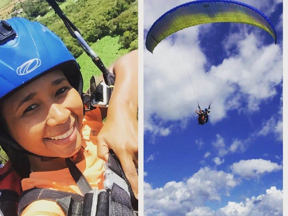 Collage of two photos showing a girl close up and far away paragliding in Barichara