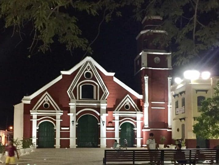Photo of the San Francisco Church in Mompox, Colombia at night time