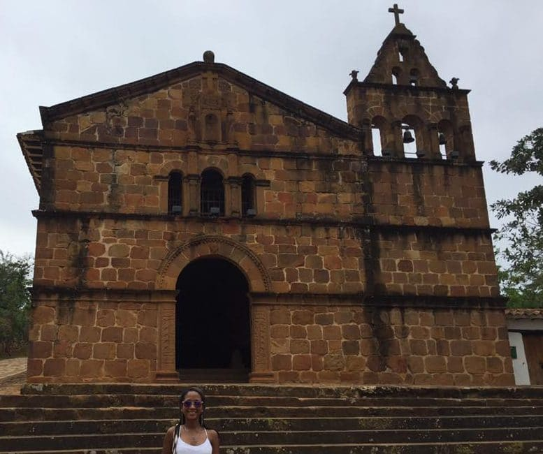 Santa Barbara Chapel in Baricaha Colombia with Susana standing in front